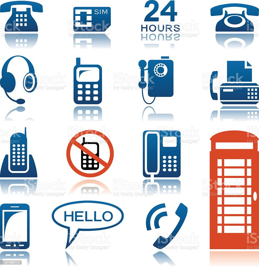 Phones and fax icon set vector art illustration