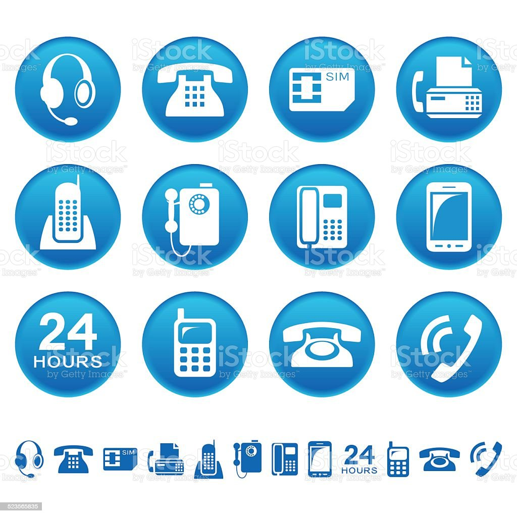 Phones and fax icons vector art illustration