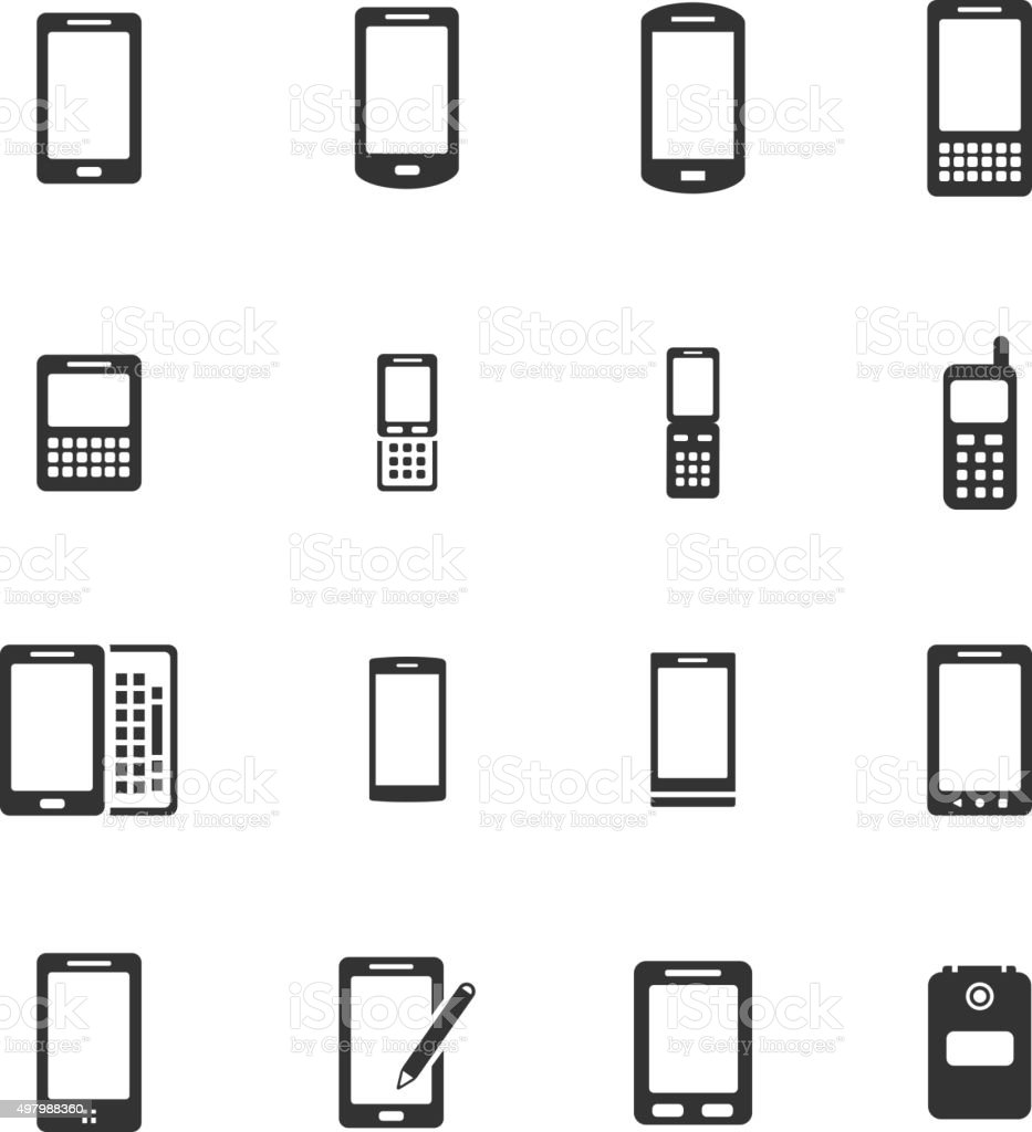 Phones simply icons vector art illustration