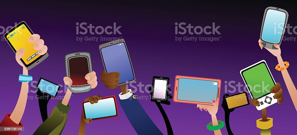 Phones royalty-free phones stock vector art & more images of crowd