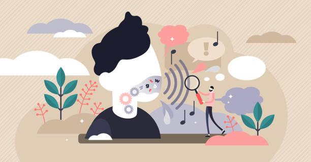 Phonetics vector illustration. Flat tiny linguistics sounds persons concept vector art illustration