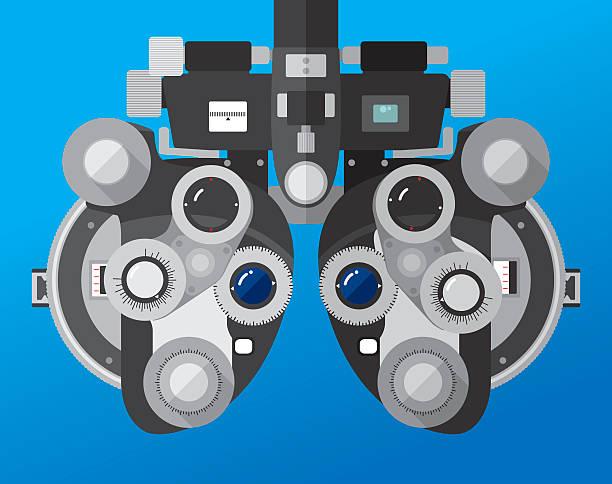 illustrations, cliparts, dessins animés et icônes de réfracteur examen ophtalmologique machine - opticien