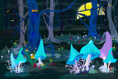 Phosphorizing magic mushrooms in a fairy forest. Full moon in a mystical place. Scary trees, fog, and magic fireflies. Vector illustration in cartoon style.