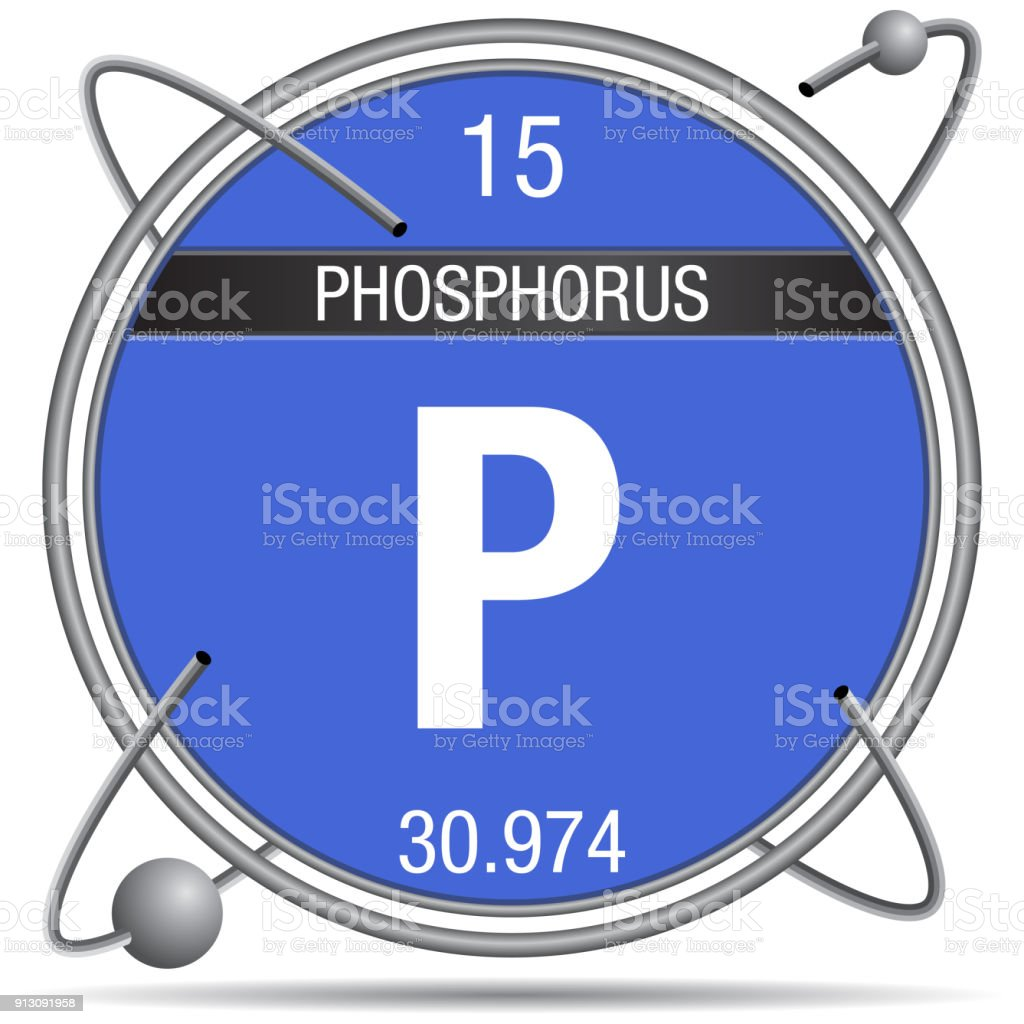 Phosphorus Symbol Inside A Metal Ring With Colored Background And