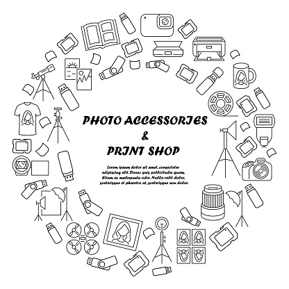 Photo accessories and equipment circle banner. Template for print shop. Copy center. Photos of the documents. Digital and optical technology. Design and printing on mugs and t-shirts.