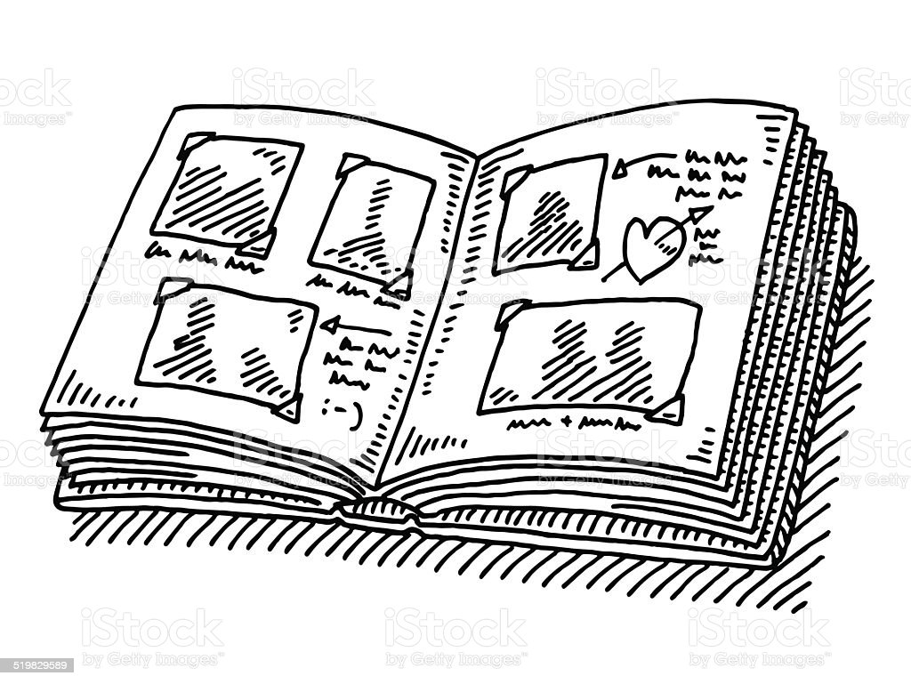 Photo Album Memories Drawing vector art illustration