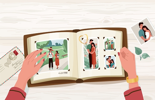 Photo album with family photographs, vector illustration in simple cartoon flat style with empty blank space at the top. Female hands holding open memorable book. View from above