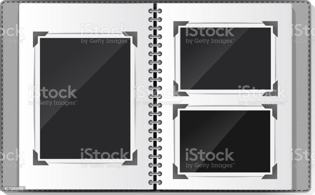 photo album with spiral empty frames on white. vector illustration vector art illustration