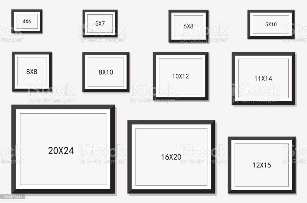 photo and picture frame size stock vector art more images of archival 671327874 istock. Black Bedroom Furniture Sets. Home Design Ideas