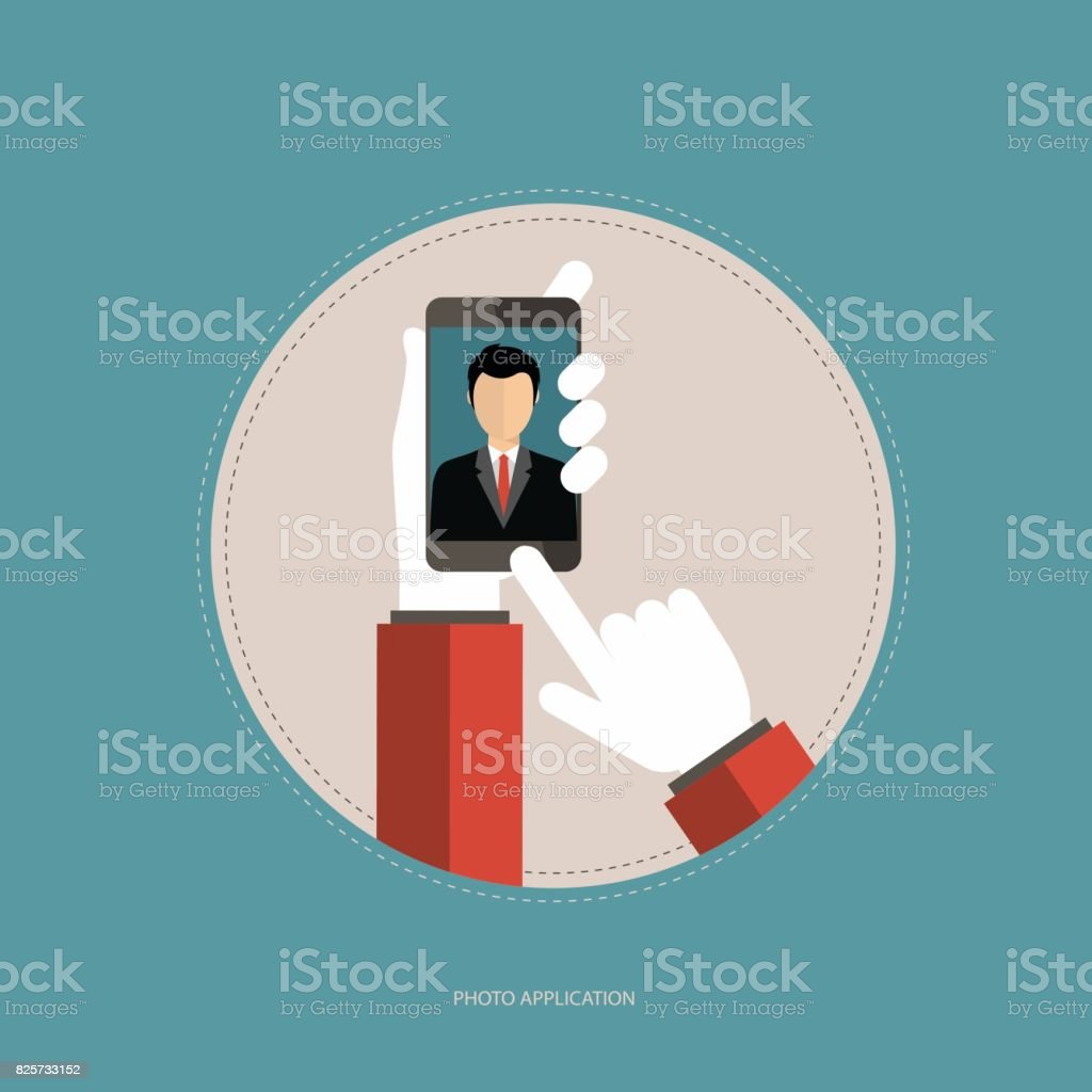 Photo application concept. Hands holding the smart phone and taking picture. Selfie concept. Flat vector illustration. vector art illustration
