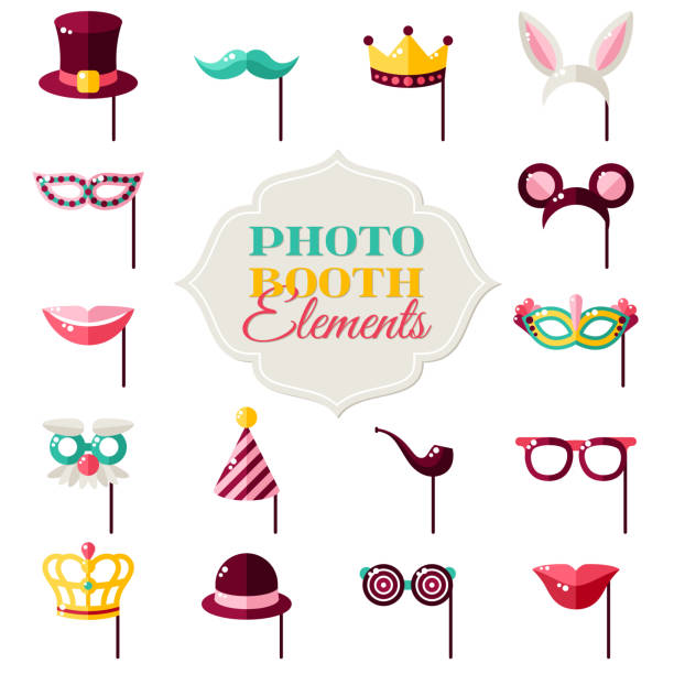 photo booth elements isolated on white - photo booth stock illustrations, clip art, cartoons, & icons