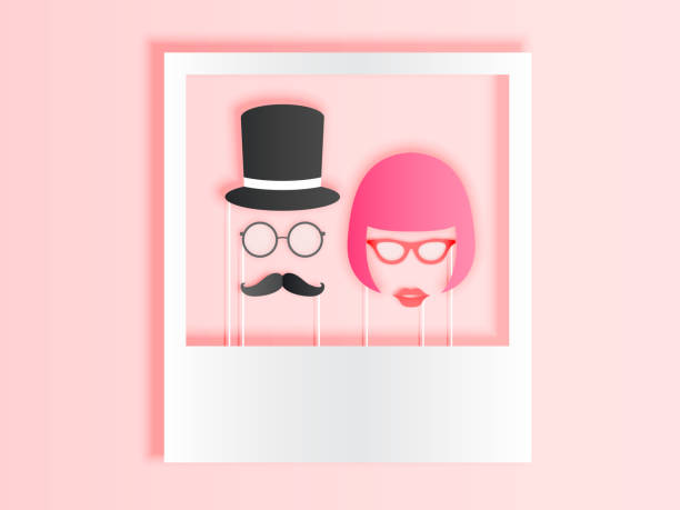 photo booth items for couple in paper art style with pastel color scheme - photo booth stock illustrations, clip art, cartoons, & icons