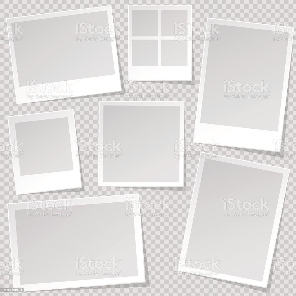 Photo booth Photo Frame templates with transparent shadow. - ilustración de arte vectorial