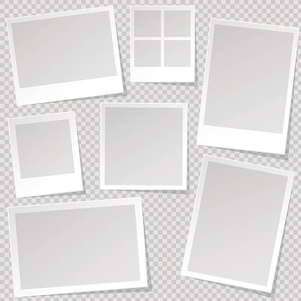 photo booth photo frame templates with transparent shadow. - bildformate stock-grafiken, -clipart, -cartoons und -symbole