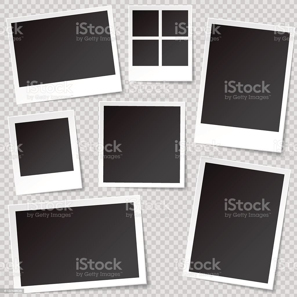 Photo booth Photo Frame templates with transparent shadow. vector art illustration