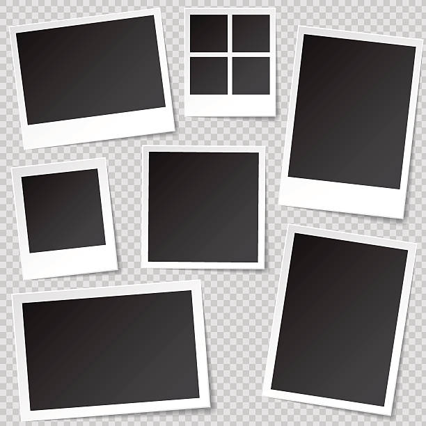 illustrations, cliparts, dessins animés et icônes de photo booth photo frame templates with transparent shadow. - bordures pour cadres photo