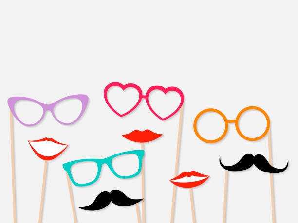 photo booth props female lips, moustache and glasses - photo booth stock illustrations, clip art, cartoons, & icons