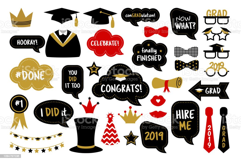 Graduation Party 2020.Photo Booth Props For Graduation Party Photobooth Stock