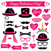 Photo booth props for Valentines Day, isolated vector design elements