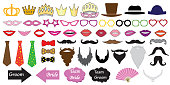 Photo booth props for weddings. Illustrations of accessories such as hats, glasses, masks, crowns, lips and moustaches and etc.