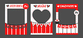 Photo booth props frame for Valentines Day and wedding party. Marriage or Love celebration. Candy and kisses booth. Giant cut out design. Red and white vector photo frame. Selfie photobooth.Â