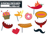 Colorful photo booth food props icon set vector illustration. Collection of icons with hipster style design elements such as mouth with teeth, cupcake, moustache, food. Perfect for photobooth shooting