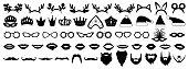 Photo booth props. New year (Christmas) party set. Glasses, hats, lips, beard, antler, kokoshnik, crown, mask. Vector illustration.