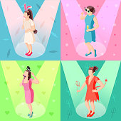 Photo booth props concept 4 isometric festive background icons with girls posing with party accessories vector illustration