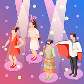 Photo booth party celebration accessories isometric festive background poster with people holding props in spotlights vector illustration