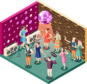 Photo booth event celebration isometric composition with disco ball party speakers and people holding props vector illustration