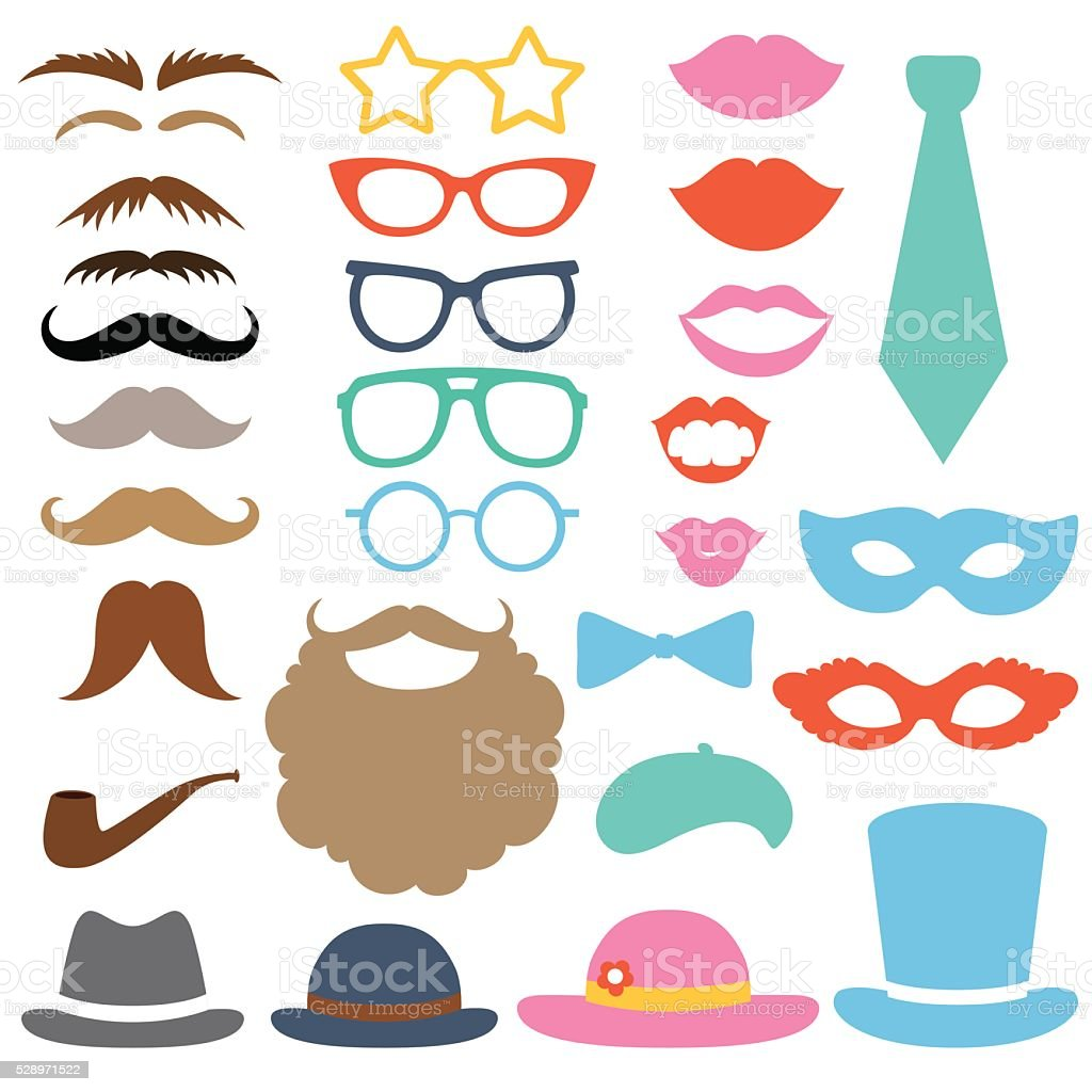 Photo booth props vector art illustration