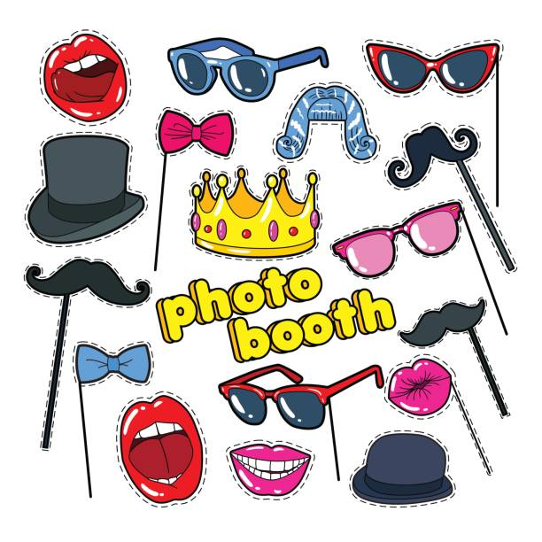 photo booth props with lips, hat and eyeglasses - photo booth stock illustrations, clip art, cartoons, & icons