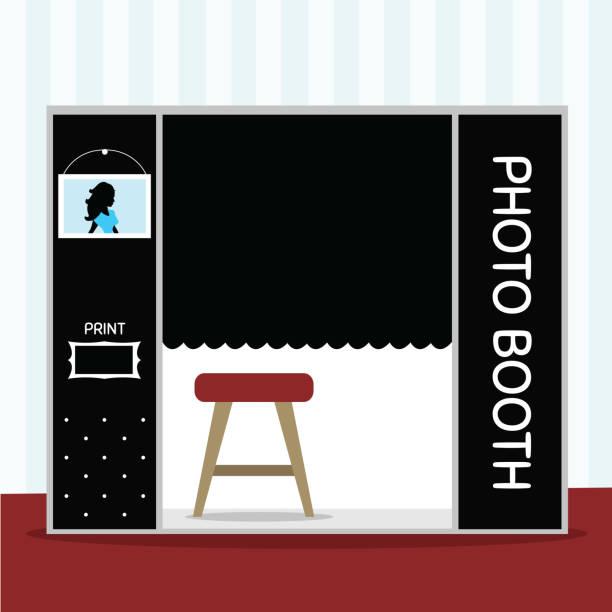 stockillustraties, clipart, cartoons en iconen met photo booth kamer - photography curtains