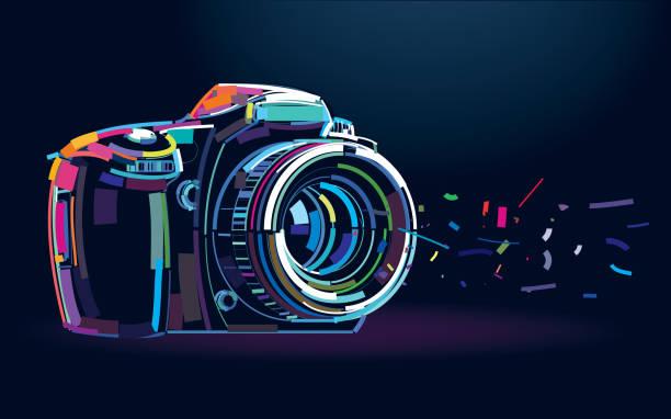 fotokamera. banner - fotografische themen stock-grafiken, -clipart, -cartoons und -symbole