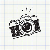 istock Photo camera doodle icon 1180394598