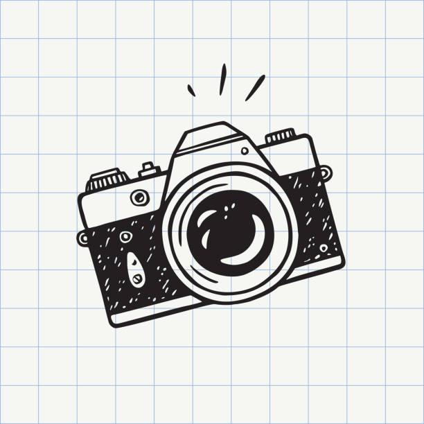 fotokamera doodle-symbol - fotografische themen stock-grafiken, -clipart, -cartoons und -symbole