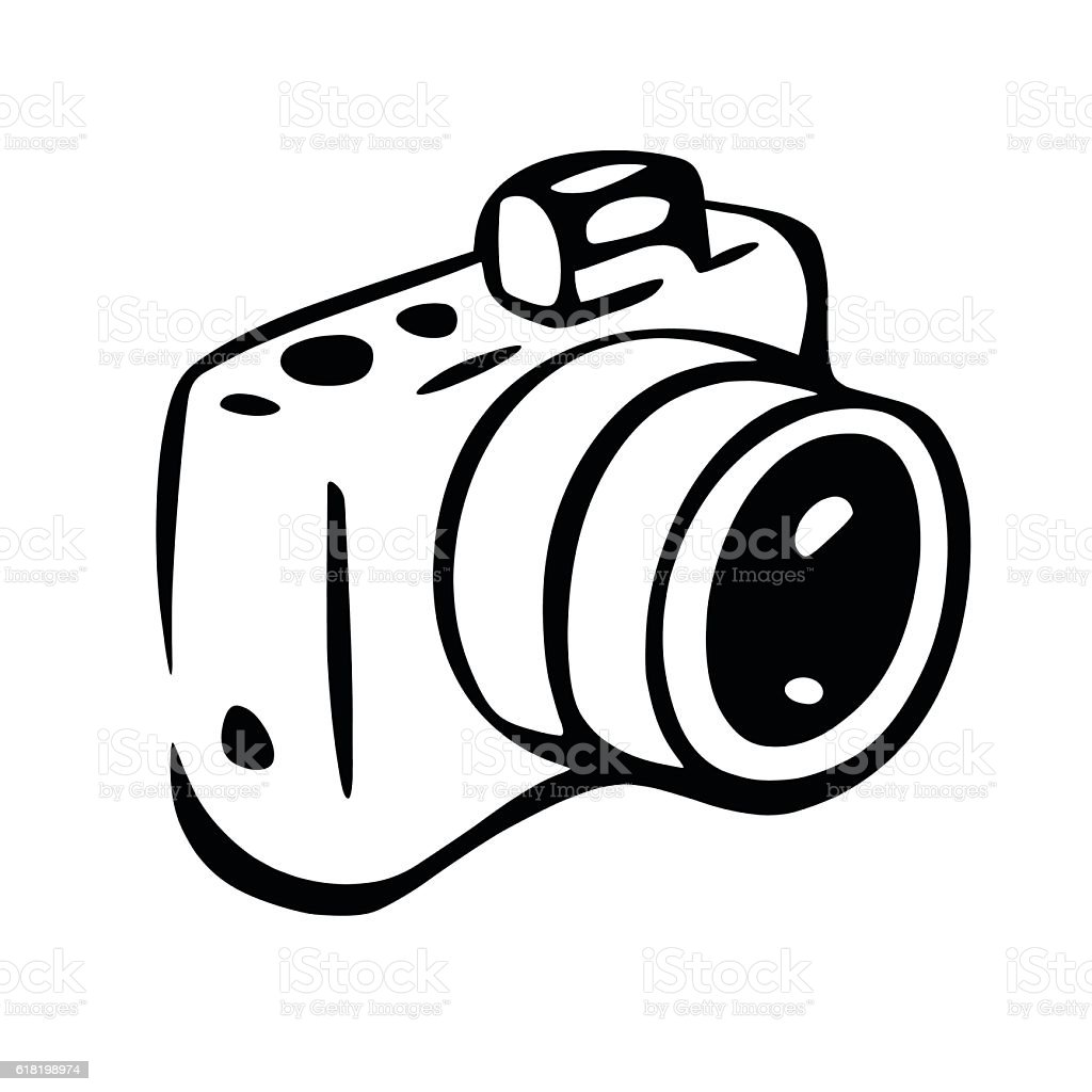 Photo Camera Drawing stock vector art 618198974 | iStock