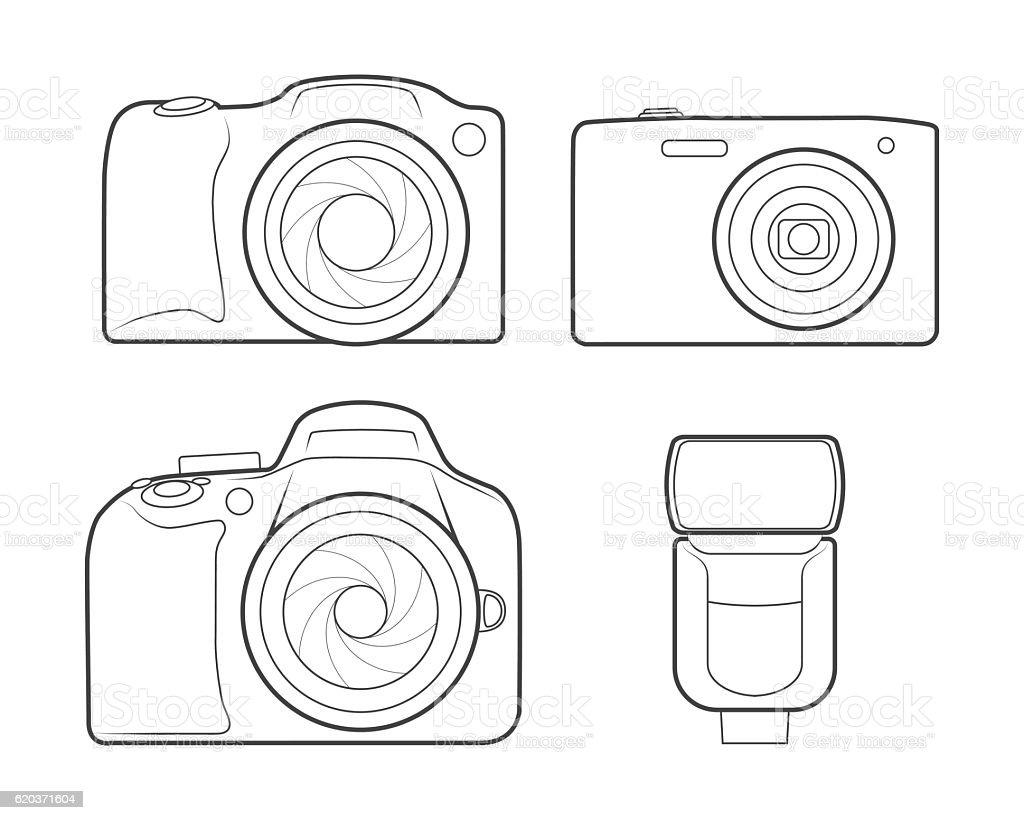 Photo camera flash outline icons photo camera flash outline icons - stockowe grafiki wektorowe i więcej obrazów aparat fotograficzny royalty-free