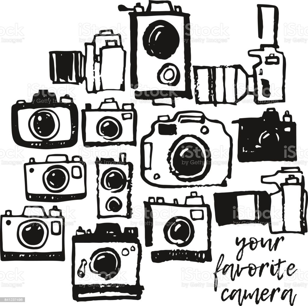 Photo camera hand drawing grunge doodle collection set vector art illustration