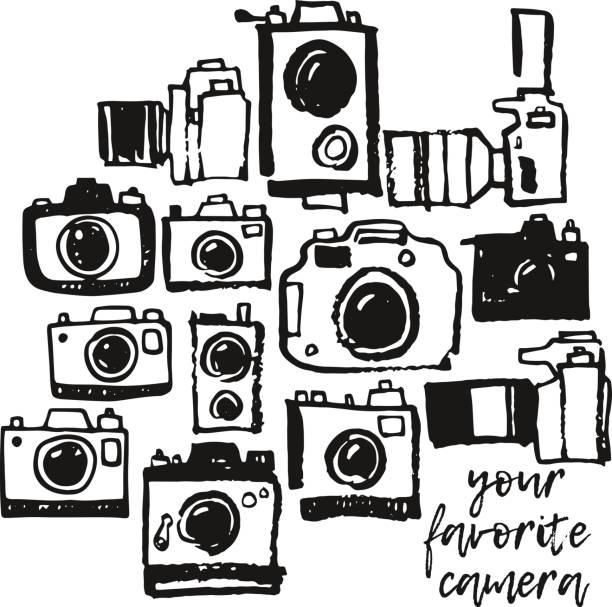 ilustraciones, imágenes clip art, dibujos animados e iconos de stock de grunge dibujo de foto cámara mano doodle colección - zoom call