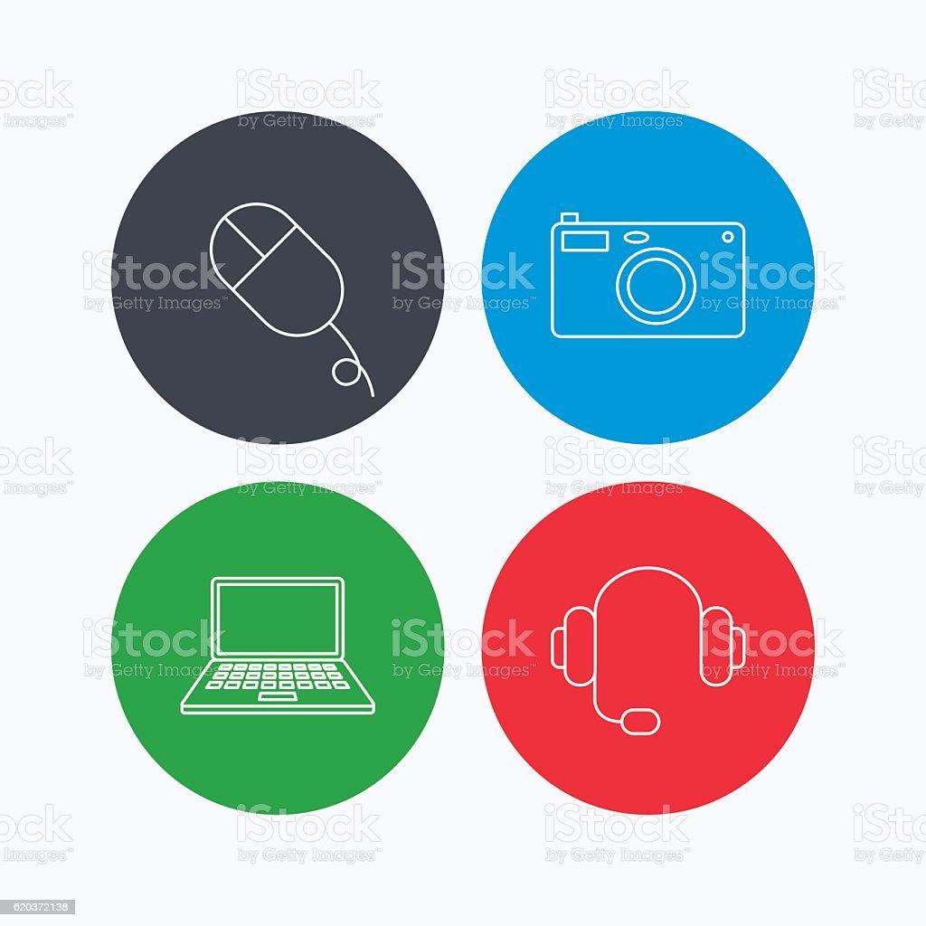 Máquinas fotográficas, auscultadores e caderno portátil. máquinas fotográficas auscultadores e caderno portátil - arte vetorial de stock e mais imagens de aplicação móvel royalty-free