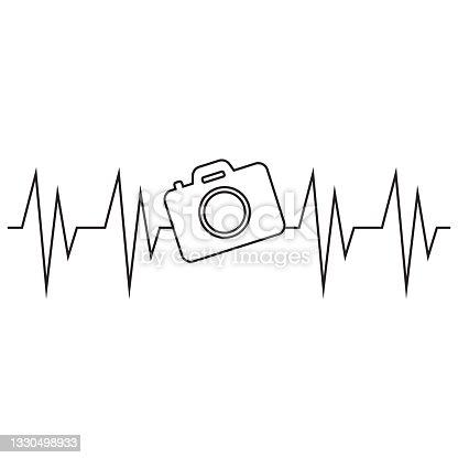 istock Photo Camera Heartbeat, Photography, Photographer vector illustration 1330498933