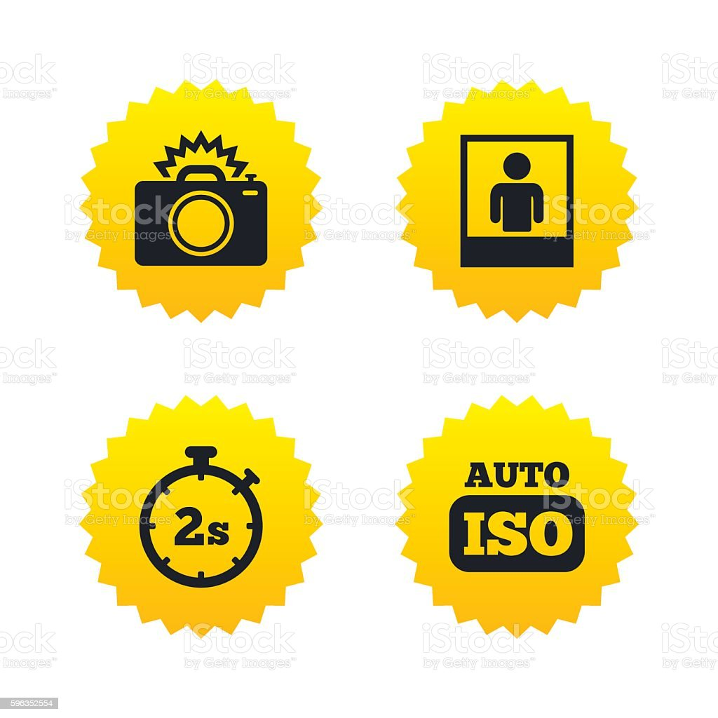 Photo camera icon. Flash light and Auto ISO. royalty-free photo camera icon flash light and auto iso stock vector art & more images of badge