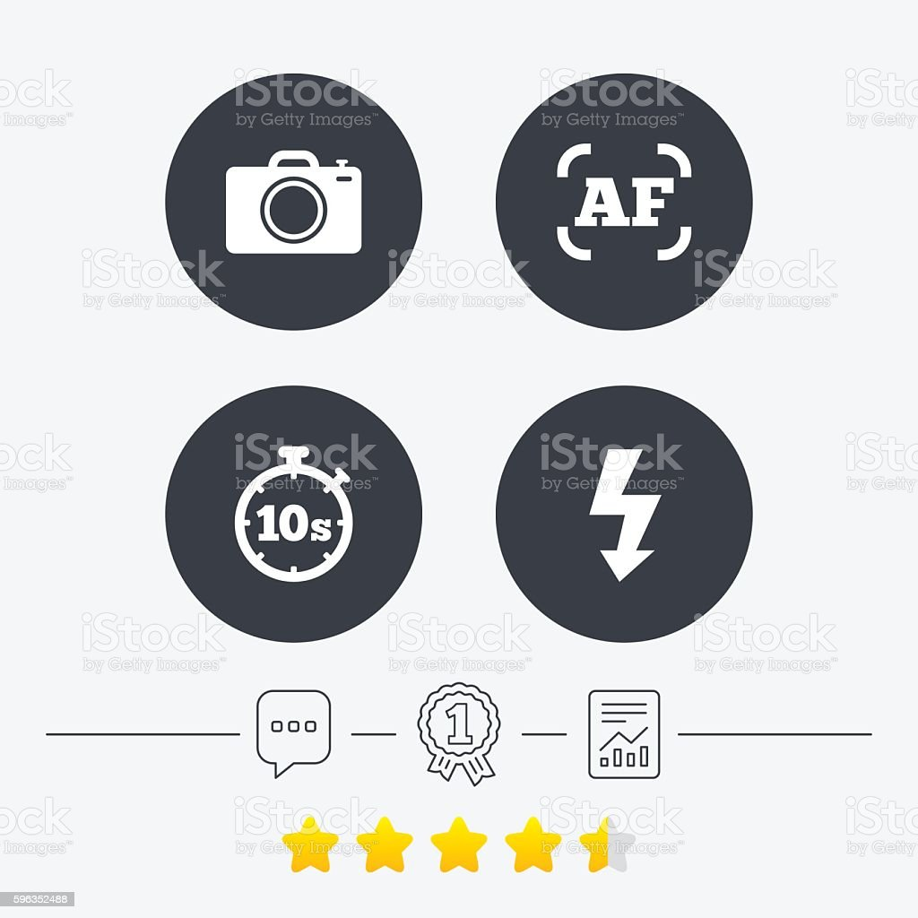 Photo camera icon. Flash light and autofocus AF. royalty-free photo camera icon flash light and autofocus af stock vector art & more images of award