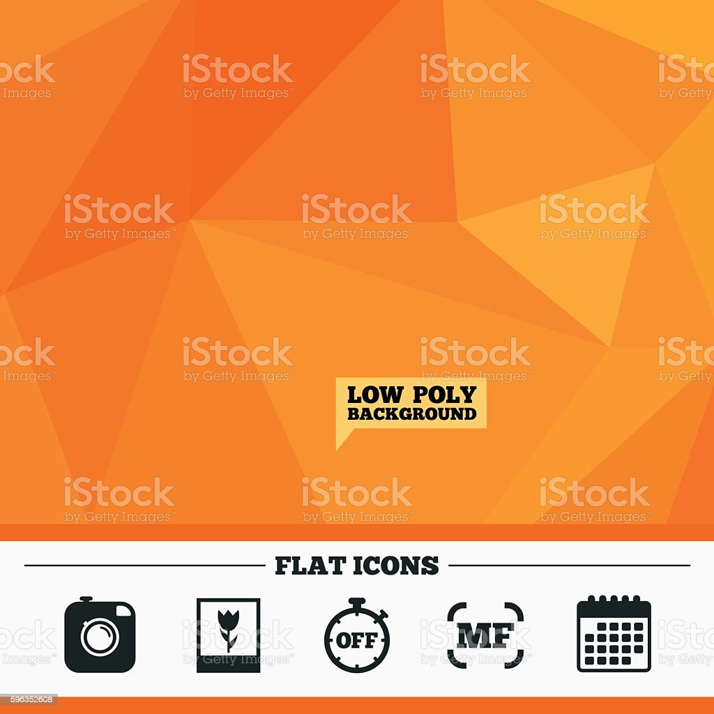 Photo camera icon. Manual focus and Macro signs. royalty-free photo camera icon manual focus and macro signs stock vector art & more images of badge