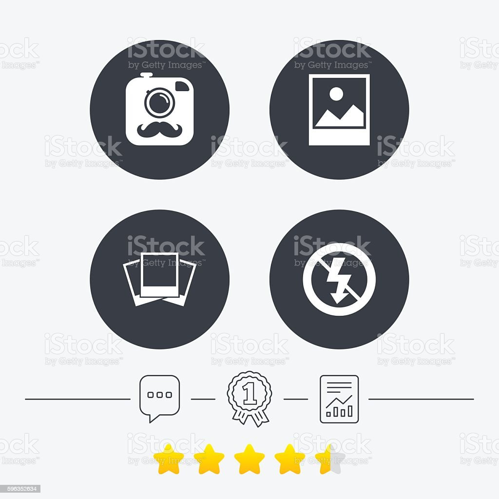 Photo camera icon. No flash light sign. royalty-free photo camera icon no flash light sign stock vector art & more images of award