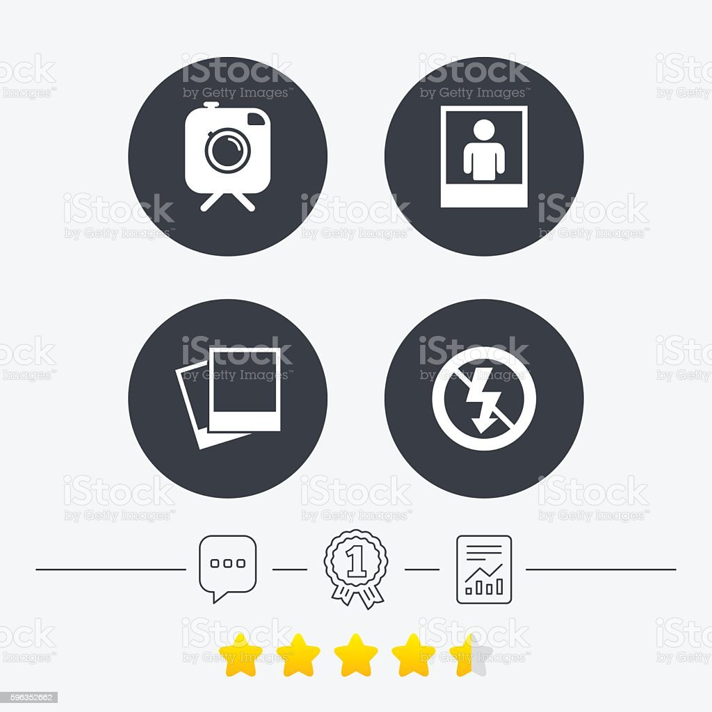 Photo camera icon. No flash light sign. royalty-free photo camera icon no flash light sign stock vector art & more images of award