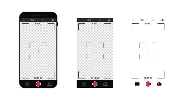 fotokamera-schnittstelle in mobile. telefon mit aufnahmevideobildschirm mit zoom, fokusraster. selfie-rahmen-vorlage im smartphone. vektor - fotohandy stock-grafiken, -clipart, -cartoons und -symbole