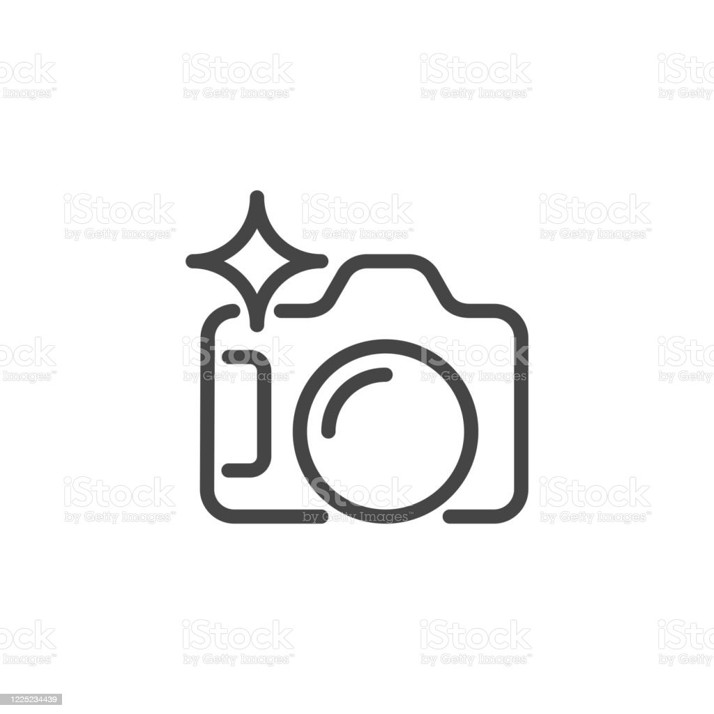 Photo Camera Line Icon Photographers Equipment Graphic Symbol Contour  Pictogram For Interface And Game Button For Mobile Apps And Sites Vector  Illustration Isolated On White Stock Illustration - Download Image Now -  iStock