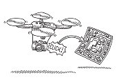 Hand-drawn vector drawing of a Photo Camera On a Flying Drone, an arrow points to a finished aerial photograph. Black-and-White sketch on a transparent background (.eps-file). Included files are EPS (v10) and Hi-Res JPG.